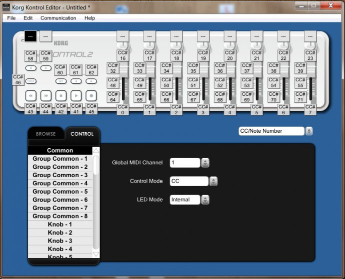 Korg editor kontrol